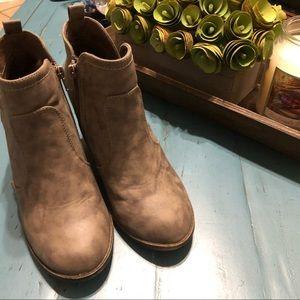 Wedge grey ankle booties
